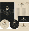 set design elements for coffee house with crown vector image