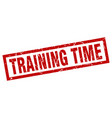 square grunge red training time stamp vector image vector image