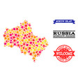 star mosaic map of moscow region and grunge stamps vector image