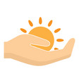 sun in hand logo flat style vector image vector image