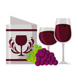 wine glass cups grapes and restaurant menu vector image