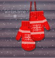 winter knitted mittens on vector image vector image