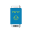 Passport and air boarding pass ticket icon with vector image