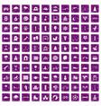 100 kids games icons set grunge purple vector image vector image