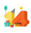 14 year greeting card birthday 14th anniversary vector image vector image