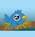 a little cartoon blue bird with big eyes in its vector image vector image