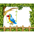 A parrot hanging in a vine plant near the wooden vector image vector image
