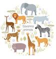 african animals elephant rhino giraffe cheetah vector image vector image