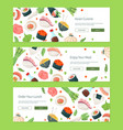 asian cuisine - colorful flat design style banners vector image