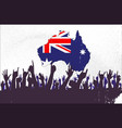 australian map and flag with audience vector image