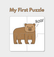 cartoon bear puzzle template for children vector image vector image