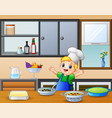 cartoon cute little boy in apron and chefs hat ne vector image vector image