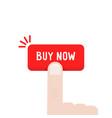 cartoon hand press on buy now button vector image vector image