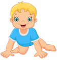 Cartoon little boy crawling vector image