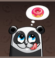cartoon panda and donut vector image vector image