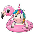 cartoon unicorn swimming on pool ring inflatable vector image