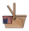 celebrate labor day with american flag in basket vector image vector image