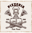 chef pizzeria emblem badge label or vector image vector image