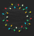 circle frame of glowing colorful christmas lights vector image vector image