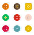 clothes button icon set flat style vector image vector image