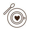 coffee cup with heart and spoon icon vector image vector image