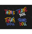 Collection of four custom colorful Thank you words vector image vector image