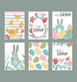 collection of six easter cards with rabbits vector image vector image