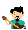 colorful half body singer with acoustic guitar vector image vector image