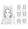 cute girl with african braids in different animal vector image vector image