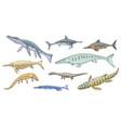 dinosaur sea animal icons jurassic marine reptile vector image vector image