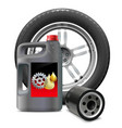 Engine Oil with Oil Filter and Tire vector image vector image