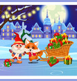 funny fox and animated gnome on the ice rink vector image