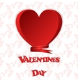 Gift card with a red heart and the words Valentine vector image