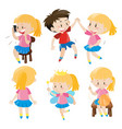 girl and boy doing activities vector image vector image