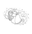 girl cats and dog sleep in bed good night vector image