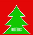 green christmas tree on red background vector image vector image
