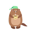 groundhog holding a cup of coffee flat vector image