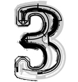 Grunge font number 3 vector image vector image