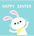 happy easter rabbit bunny waving paw print hands vector image vector image