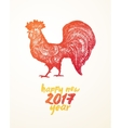 Happy New 2017 Year card Red Rooster vector image