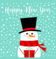 happy new year snowman holding gift box present vector image