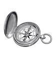 high detail vintage compass rose engraving vector image