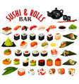 japanese sushi and rolls icons seafood vector image vector image