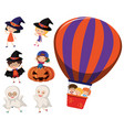 kids in halloween costumes and on balloon vector image vector image