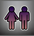 male and female sign violet gradient icon vector image