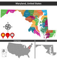 map of maryland us vector image vector image