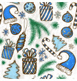 merry christmas seamless pattern with sketched vector image vector image