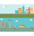 modern banner set urban landscape and city life vector image vector image