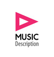 music logo pink color pink play button of player vector image vector image