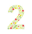 number 2 green floral made leaves vector image vector image